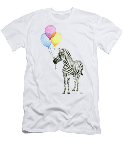 Zebra Watercolor With Balloons Men's T-Shirt (Athletic Fit)
