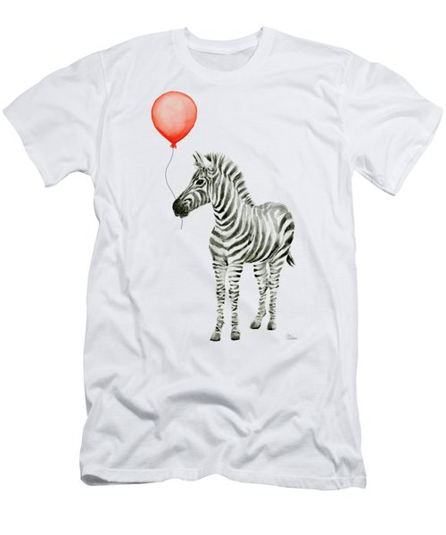 Zebra With Red Balloon Whimsical Baby Animals Men's T-Shirt (Slim Fit) by Olga Shvartsur