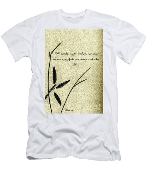 Zen Sumi 4d Antique Motivational Flower Ink On Watercolor Paper By Ricardos Men's T-Shirt (Athletic Fit)