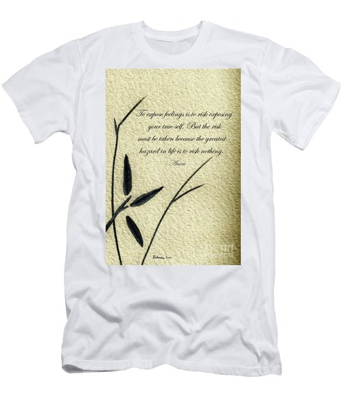 Zen Sumi 4m Antique Motivational Flower Ink On Watercolor Paper By Ricardos Men's T-Shirt (Athletic Fit)
