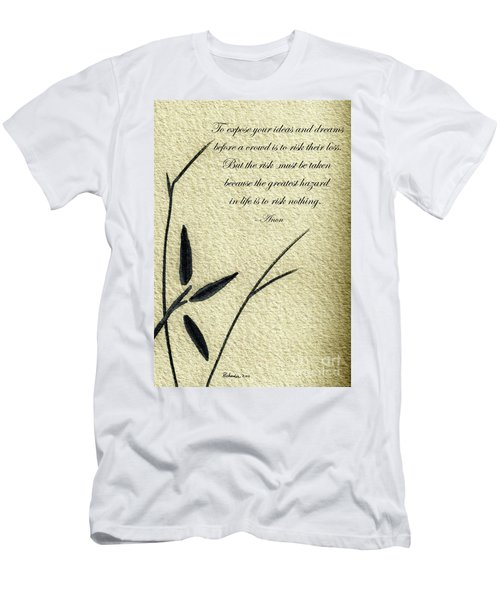 Zen Sumi 4n Antique Motivational Flower Ink On Watercolor Paper By Ricardos Men's T-Shirt (Athletic Fit)