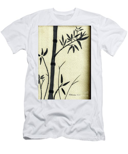 Zen Sumi Antique Bamboo 1a Black Ink On Fine Art Watercolor Paper By Ricardos Men's T-Shirt (Athletic Fit)