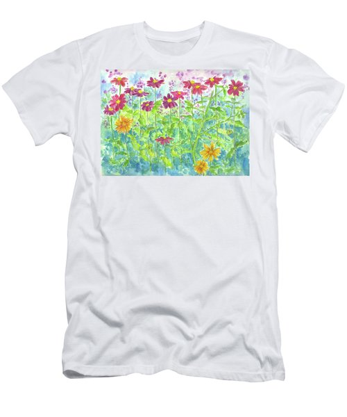 Men's T-Shirt (Slim Fit) featuring the painting Zinnias  by Cathie Richardson