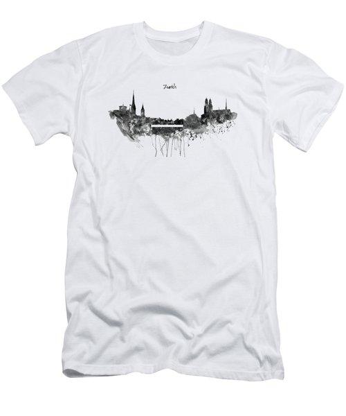 Zurich Black And White Skyline Men's T-Shirt (Athletic Fit)