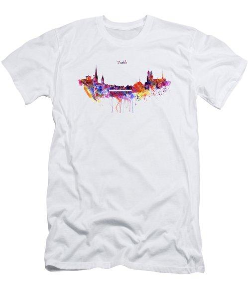 Zurich Skyline Men's T-Shirt (Slim Fit) by Marian Voicu