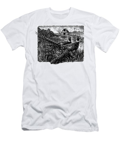 Men's T-Shirt (Athletic Fit) featuring the drawing Pheasants by Clint Hansen