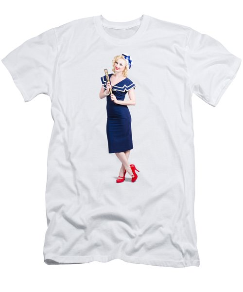 1950 Maritime Woman Holding Nautical Telescope Men's T-Shirt (Athletic Fit)