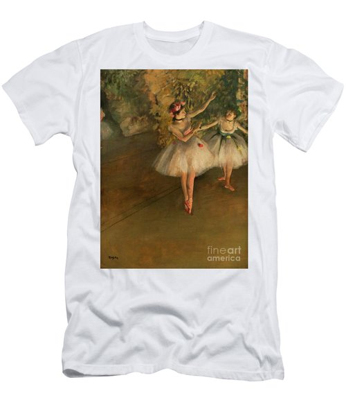 Men's T-Shirt (Athletic Fit) featuring the painting Two Dancers On A Stage by Edgar Degas