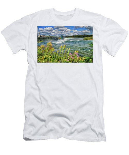 Men's T-Shirt (Athletic Fit) featuring the photograph A Touch Of Summer In Fall At Niagara Falls, New York by Lynn Bauer