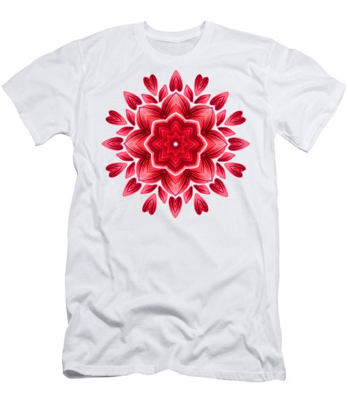 Abstract Watercolor Red Floral Mandala Men's T-Shirt (Athletic Fit)