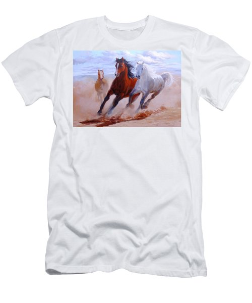 Men's T-Shirt (Athletic Fit) featuring the painting Adventurous Horses by Arttantra