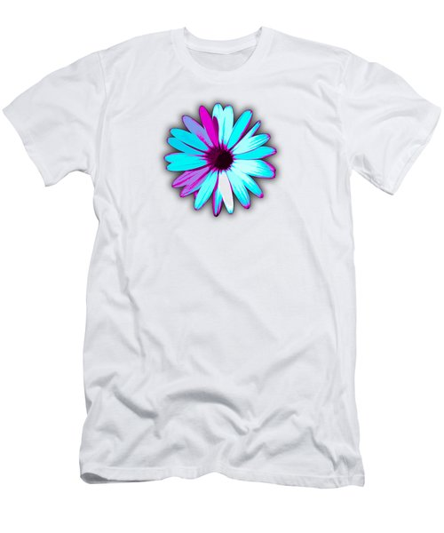 African Daisy Blue Purple And White Men's T-Shirt (Athletic Fit)