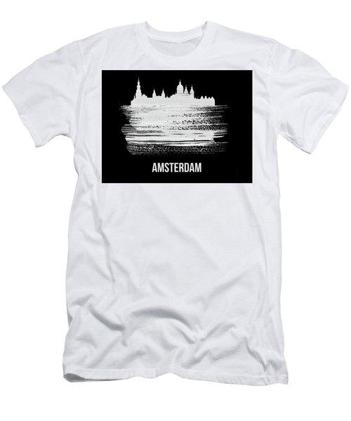 Amsterdam Skyline Brush Stroke White Men's T-Shirt (Athletic Fit)