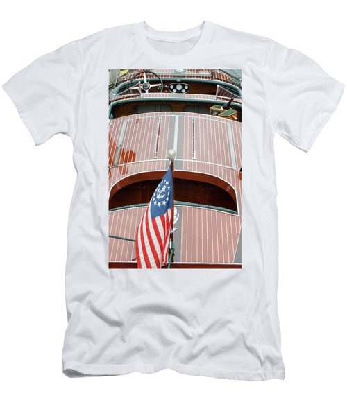 Antique Wooden Boat With Flag 1303 Men's T-Shirt (Athletic Fit)