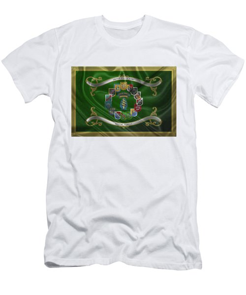 c8b2a26d40f6b Army Special Forces - S F Patch With S F Groups Flashes Over Flag Men s T- Shirt