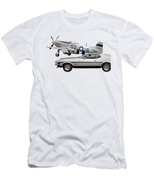 Mach 1 Mustang With P51  Men's T-Shirt (Athletic Fit)