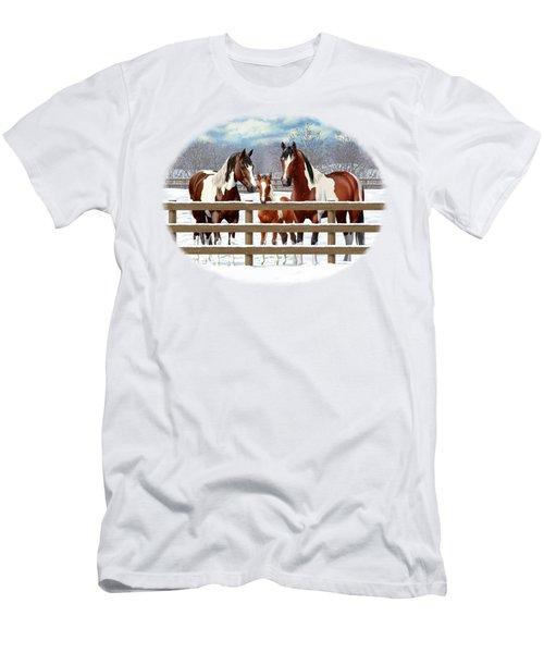 Bay Paint Horses In Snow Men's T-Shirt (Athletic Fit)
