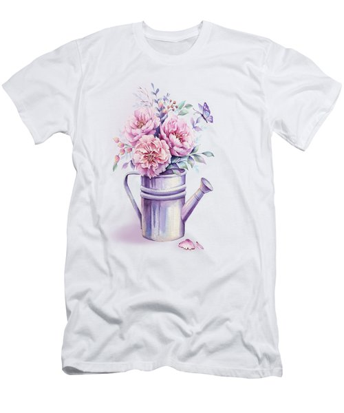 Pink Peonies Blooming Watercolour Men's T-Shirt (Athletic Fit)
