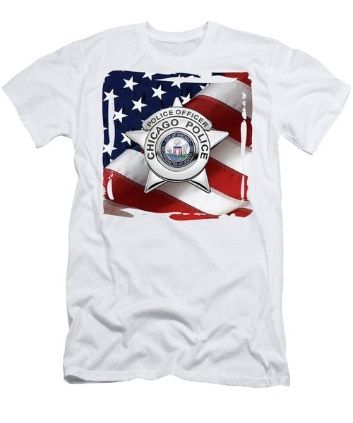 Chicago Police Department Badge -  C P D   Police Officer Star Over American Flag Men's T-Shirt (Athletic Fit)