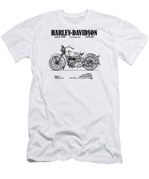 Men's T-Shirt (Athletic Fit) featuring the drawing 1928 Harley Davidson Motorcyle Patent Illustration Art Print by David Millenheft
