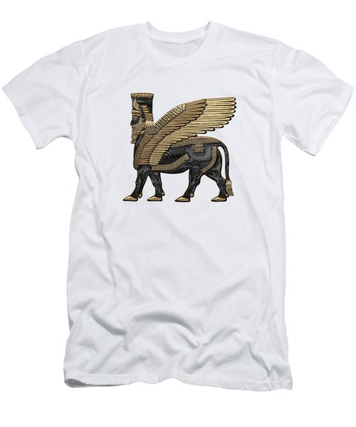 Assyrian Winged Bull - Gold And Black Lamassu Over White Leather Men's T-Shirt (Athletic Fit)