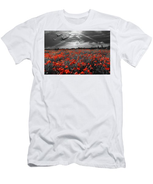 Men's T-Shirt (Athletic Fit) featuring the photograph At The Going Down Of The Sun Selective Red Version by Gary Eason