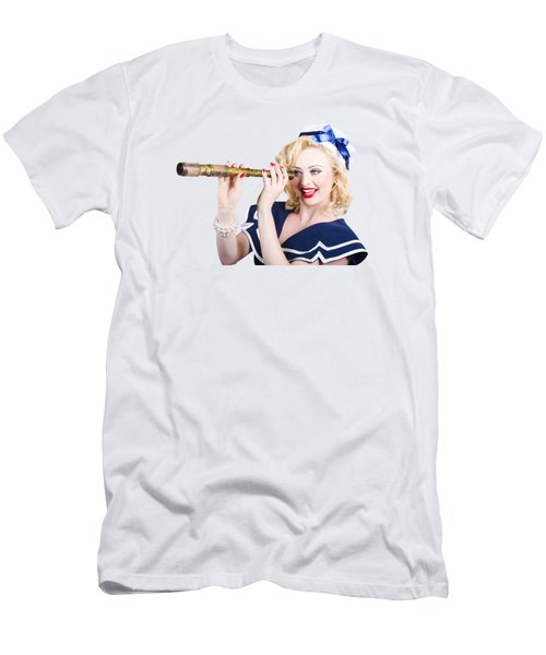 Attractive Pinup Sailor Girl With A Monocular Men's T-Shirt (Athletic Fit)