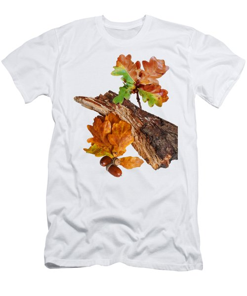 Autumn Oak Leaves And Acorns On White Men's T-Shirt (Athletic Fit)