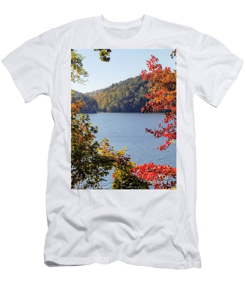 Men's T-Shirt (Athletic Fit) featuring the photograph Autumn On The Lake by Rachel Hannah