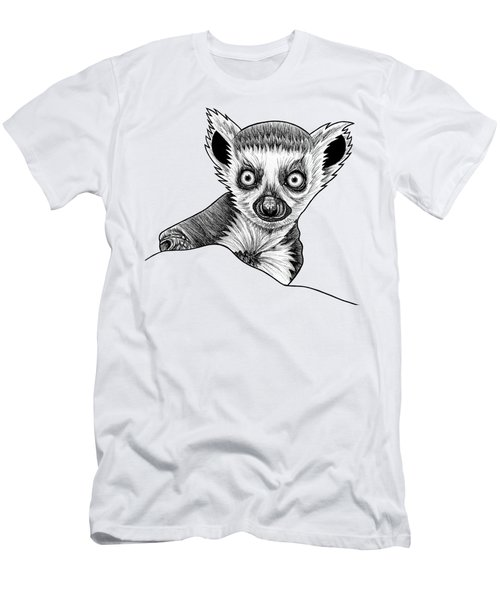 Baby Ring Tailed Lemur - Ink Illustration Men's T-Shirt (Athletic Fit)