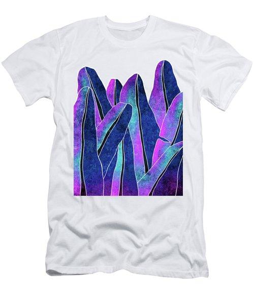 Banana Leaf - Blue, Violet, Navy - Tropical Leaf Print - Botanical Art - Modern Abstract Men's T-Shirt (Athletic Fit)