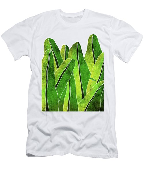 Banana Leaf - Green, Yellow, Olive- Tropical Leaf Print - Botanical Art - Modern Abstract Men's T-Shirt (Athletic Fit)