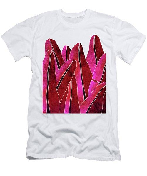 Banana Leaf - Purple, Red - Tropical Leaf Print - Botanical Art - Abstract - Modern, Minimal Decor Men's T-Shirt (Athletic Fit)