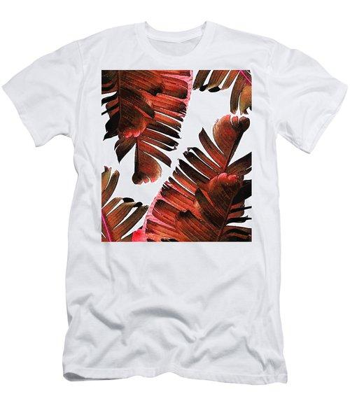 Banana Leaf - Tropical Leaf Print - Botanical Art - Modern Abstract - Brown, Copper, Red Men's T-Shirt (Athletic Fit)