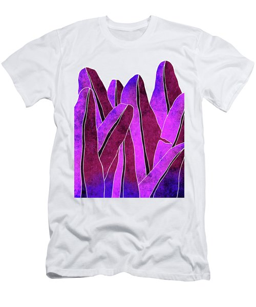 Banana Leaf - Violet, Purple - Tropical Leaf Print - Botanical Art - Abstract - Modern, Minimal Men's T-Shirt (Athletic Fit)