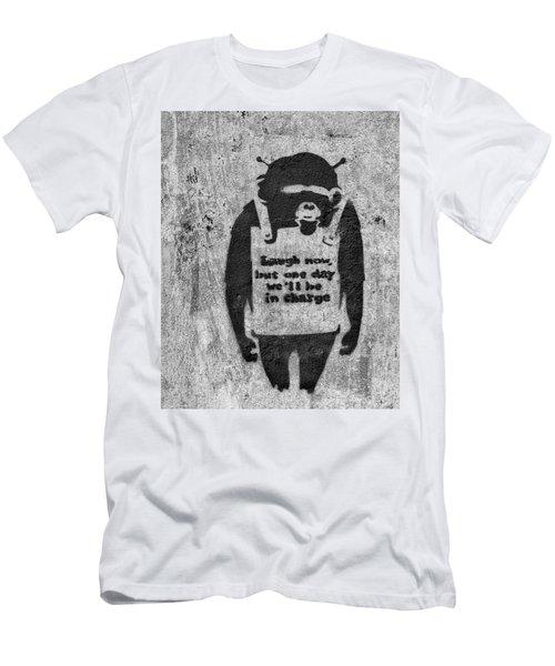 Banksy Chimp Laugh Now Graffiti Men's T-Shirt (Athletic Fit)