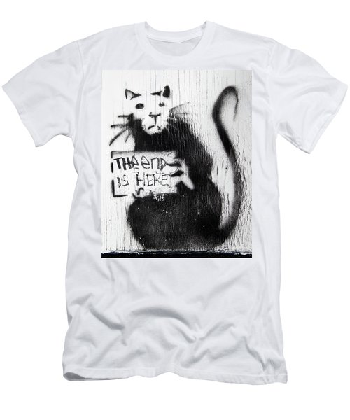 Men's T-Shirt (Athletic Fit) featuring the photograph Banksy Rat The End Is Here by Gigi Ebert