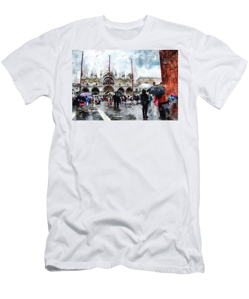 Men's T-Shirt (Athletic Fit) featuring the digital art Basilica Of Saint Mark In Venice With Watercolor Look by Eduardo Jose Accorinti