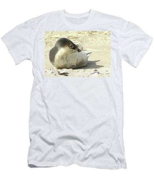 Men's T-Shirt (Athletic Fit) featuring the photograph Beach Seal by Debbie Stahre