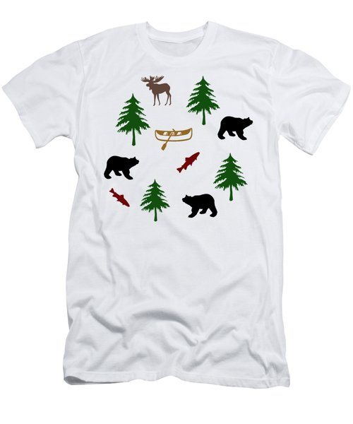 Bear Moose Pattern Men's T-Shirt (Athletic Fit)