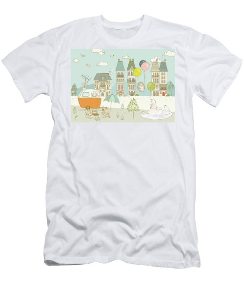Men's T-Shirt (Athletic Fit) featuring the painting Bears And Mice Outside The City Cute Whimsical Kids Art by Matthias Hauser