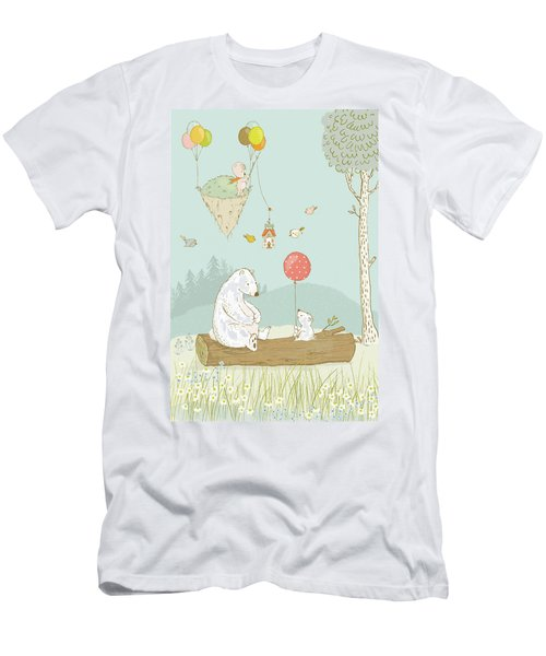 Men's T-Shirt (Athletic Fit) featuring the painting Bears Relaxing And A Floating Island In The Sky by Matthias Hauser