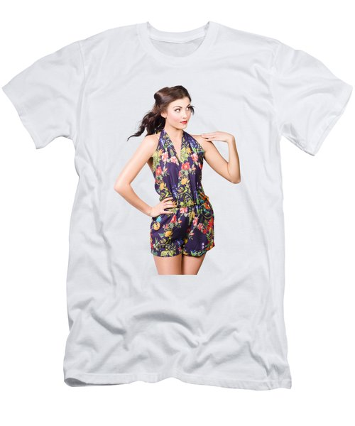 Beautiful Retro Model In Sleeveless Retro Fashion Men's T-Shirt (Athletic Fit)
