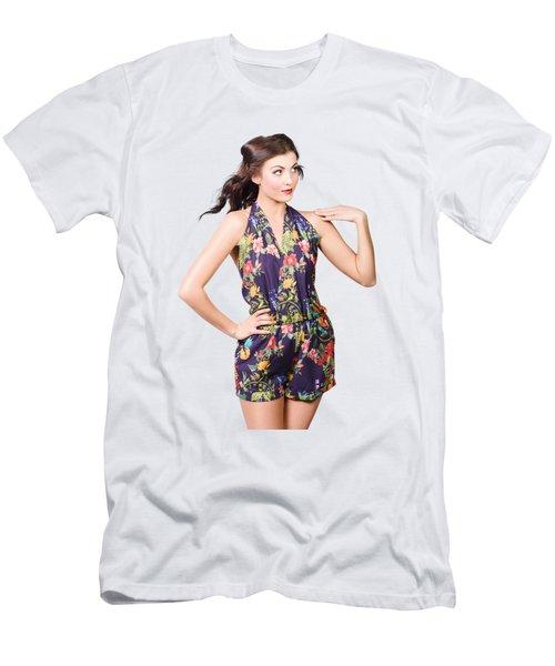 Beautiful Retro Model In Sleeveless Retro Fashion Men's T-Shirt (Athletic Fit)