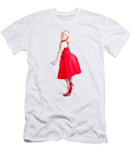 Beautiful Woman Model In Red Dress And High Heels Men's T-Shirt (Athletic Fit)