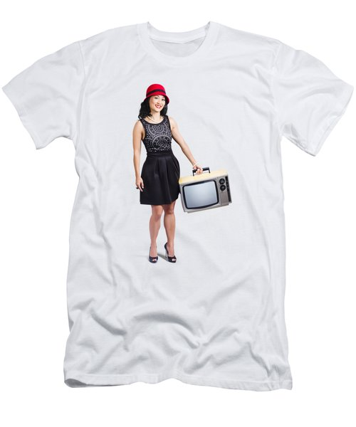 Beautiful Woman With Television Men's T-Shirt (Athletic Fit)
