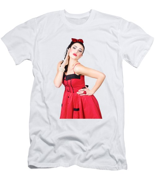 Beautiful Young Pin-up Woman In Retro Fashion Men's T-Shirt (Athletic Fit)