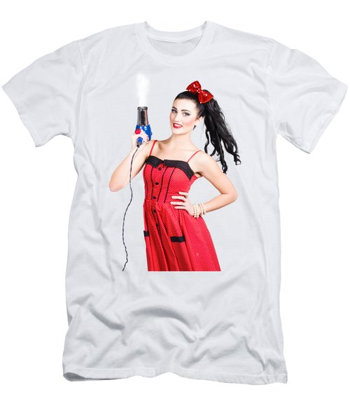 Beauty Style Portrait Of A Elegant Hairdryer Woman Men's T-Shirt (Athletic Fit)