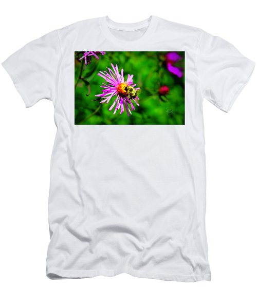 Men's T-Shirt (Athletic Fit) featuring the photograph Bee On Purple Flower by Meta Gatschenberger