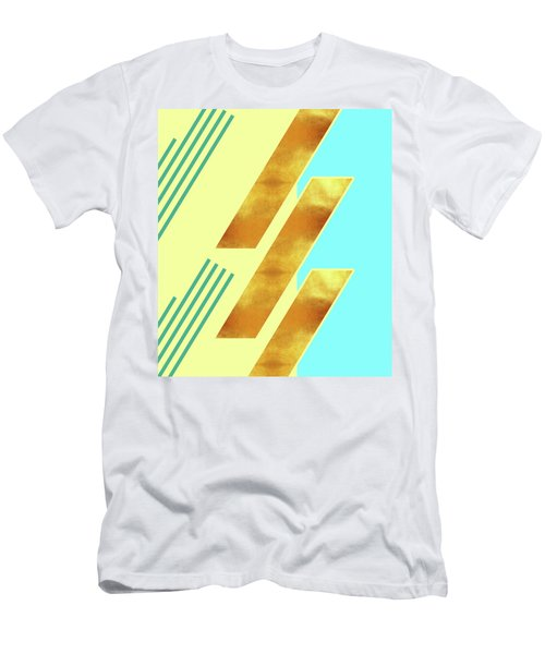 Beige, Blue And Gold Stripe Pattern - Pastel Colors - Abstract Pattern Design - Modern, Minimal Men's T-Shirt (Athletic Fit)